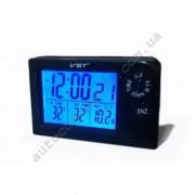 Авточасы 7048V LCD автомобильные часы с функцией будильника, календаря, термометра (t внутри,t за бортом, обновление датчика 20с)