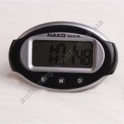 Авточасы 813А Часы цифровые универсальные, корпус овал, черный+серебро, крепление шарнир, формат 12 часов