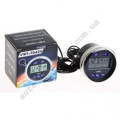 Авточасы 7042V Электронные  часы  ВАЗ  2106 (с вольтметром и термометром)